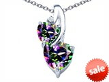 Original Star K™ 8mm Heart Shape Mystic Topaz Double Hearts Pendant style: 306907