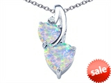 Original Star K™ 8mm Heart Shape Created Opal Double Hearts Pendant style: 306908