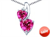 Original Star K™ 8mm Heart Shape Created Pink Sapphire Double Hearts Pendant style: 306909