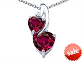 Original Star K™ 8mm Heart Shape Created Ruby Double Hearts Pendant