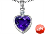 Original Star K™ 10mm Heart Shape Simulated Amethyst Heart Pendant