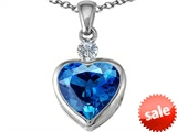Original Star K™ 10mm Heart Shape Simulated Blue Topaz Heart Pendant style: 306926