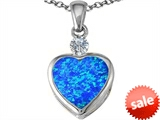 Original Star K™ 10mm Heart Shape Created Blue Opal Heart Pendant style: 306927