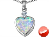 Original Star K™ 10mm Heart Shape Created Opal Heart Pendant