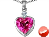 Original Star K™ 10mm Heart Shape Created Pink Sapphire Heart Pendant
