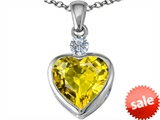 Original Star K™ 10mm Heart Shape Simulated Peridot Heart Pendant