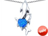 Original Star K™ 7mm Heart Shape Created Blue Opal Two Swimming Dolphin Pendant style: 306937