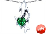 Original Star K™ 7mm Heart Shape Simulated Emerald Two Swimming Dolphin Pendant