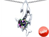 Original Star K™ 7mm Heart Shape Mystic Topaz Two Swimming Dolphin Pendant