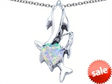 Original Star K™ 7mm Heart Shape Created Opal Two Swimming Dolphin Pendant