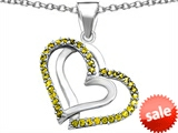 Original Star K™ Round Simulated Citrine Double Hearts Pendant