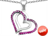 Original Star K™ Round Created Pink Sapphire Double Hearts Pendant style: 306947