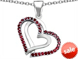 Original Star K™ Round Created Ruby Double Hearts Pendant