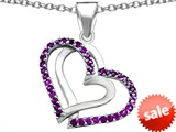 Original Star K™ Round Simulated Amethyst Double Hearts Pendant