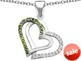Original Star K™ Round Simulated Peridot Double Hearts Pendant style: 306951