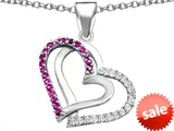 Original Star K™ Round Created Pink Sapphire Double Hearts Pendant style: 306954