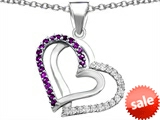Original Star K™ Round Simulated Amethyst Double Hearts Pendant style: 306956