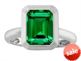 Original Star K™ 9x7mm Emerald Cut Octagon Solitaire Engagement Ring With Simulated Emerald
