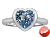 Original Star K™ 8mm Heart Shape Solitaire Engagement Ring With Simulated Aquamarine