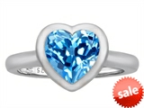 Original Star K™ 8mm Heart Shape Solitaire Engagement Ring With Genuine Blue Topaz