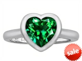 Original Star K™ 8mm Heart Shape Solitaire Engagement Ring With Simulated Emerald style: 306976