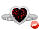 Original Star K™ 8mm Heart Shape Solitaire Engagement Ring With Genuine Garnet