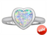 Original Star K™ 8mm Heart Shape Solitaire Engagement Ring With Created Opal