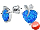 Original Star K™ 8mm Heart Shape Created Blue Opal Heart Earrings