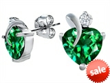 Original Star K™ 8mm Heart Shape Simulated Emerald Heart Earrings
