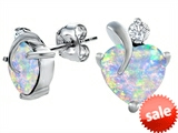 Original Star K™ 8mm Heart Shape Created Opal Heart Earrings