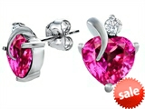 Original Star K™ 8mm Heart Shape Created Pink Sapphire Heart Earrings style: 306989