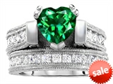 Original Star K™ 7mm Heart Shape Simulated Emerald Engagement Wedding Set
