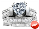 Original Star K™ 7mm Heart Shape Genuine White Topaz Engagement Wedding Set style: 306993