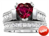 Original Star K™ 7mm Heart Shape Created Ruby Engagement Wedding Set style: 306994