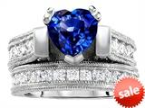 Original Star K™ 7mm Heart Shape Created Sapphire Engagement Wedding Set style: 306995