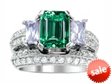 Original Star K™ 8x6mm Emerald Octagon Cut Simulated Emerald Engagement Wedding Set