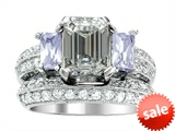 Original Star K™ 8x6mm Emerald Octagon Cut Genuine White Topaz Engagement Wedding Set style: 306998