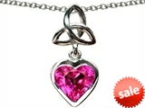 Celtic Love by Kelly ™ Love Knot Pendant with Heart 9mm Created Pink Sapphire