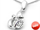 Original Star K™ Round 6mm Genuine White Topaz Cat Pendant