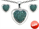 Original Star K™ Simulated Emerald Heart Shape Love Pendant with matching earrings style: 307008