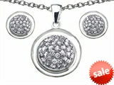 Original Star K™ Cubic Zirconia Round Puffed Pendant Box Set with matching earrings