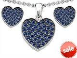 Original Star K™ Created Sapphire Heart Shape Love Pendant with matching earrings style: 307011