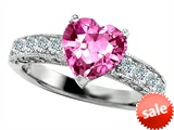 Original Star K™ 8mm Heart Shape Created Pink Sapphire Engagement Ring