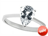 Tommaso Design™ Pear Shape 8x6mm Genuine White Topaz Solitaire Engagement Ring style: 307014