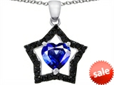 Original Star K™ Heart Shape Created Sapphire Black Star Pendant