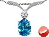 Tommaso Design™ Oval 8x6mm Genuine Blue Topaz and Diamond Pendant style: 307019