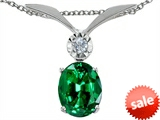 Tommaso Design™ Oval 8x6mm Simulated Emerald And Genuine Diamond Pendant
