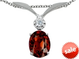 Tommaso Design™ Oval 8x6mm Genuine Garnet and Diamond Pendant