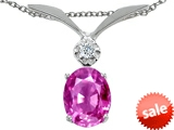 Tommaso Design™ Created Pink Sapphire Oval 8x6mm and Genuine Diamond Pendant