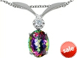 Tommaso Design™ Oval 8x6mm Mystic Rainbow Topaz and Genuine Diamond Pendant